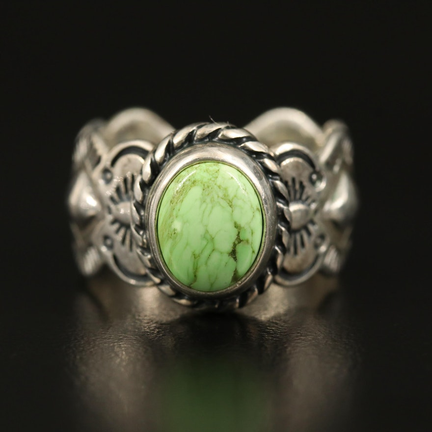 Sterling Gaspeite Stampwork Ring
