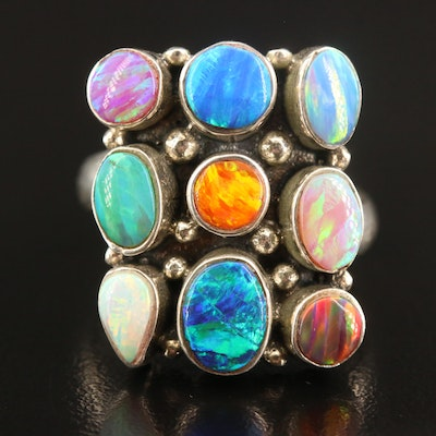Sterling Silver Opal Cluster Ring with Open Shank
