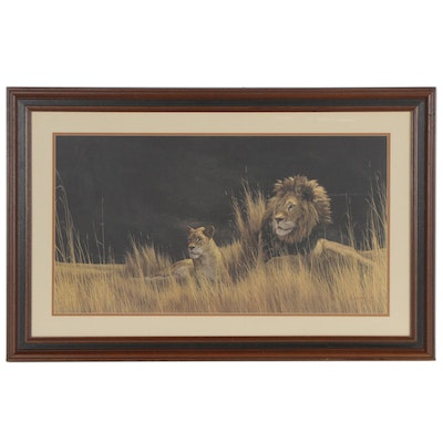 Peter Skirka Offset Lithograph of Lions, Late 20th Century