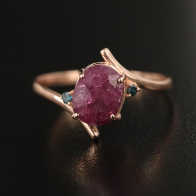 14K 1.75 CT Ruby and Diamond Bypass Ring