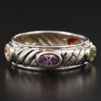 Sterling Silver Multi-Colored Cubic Zirconia Band