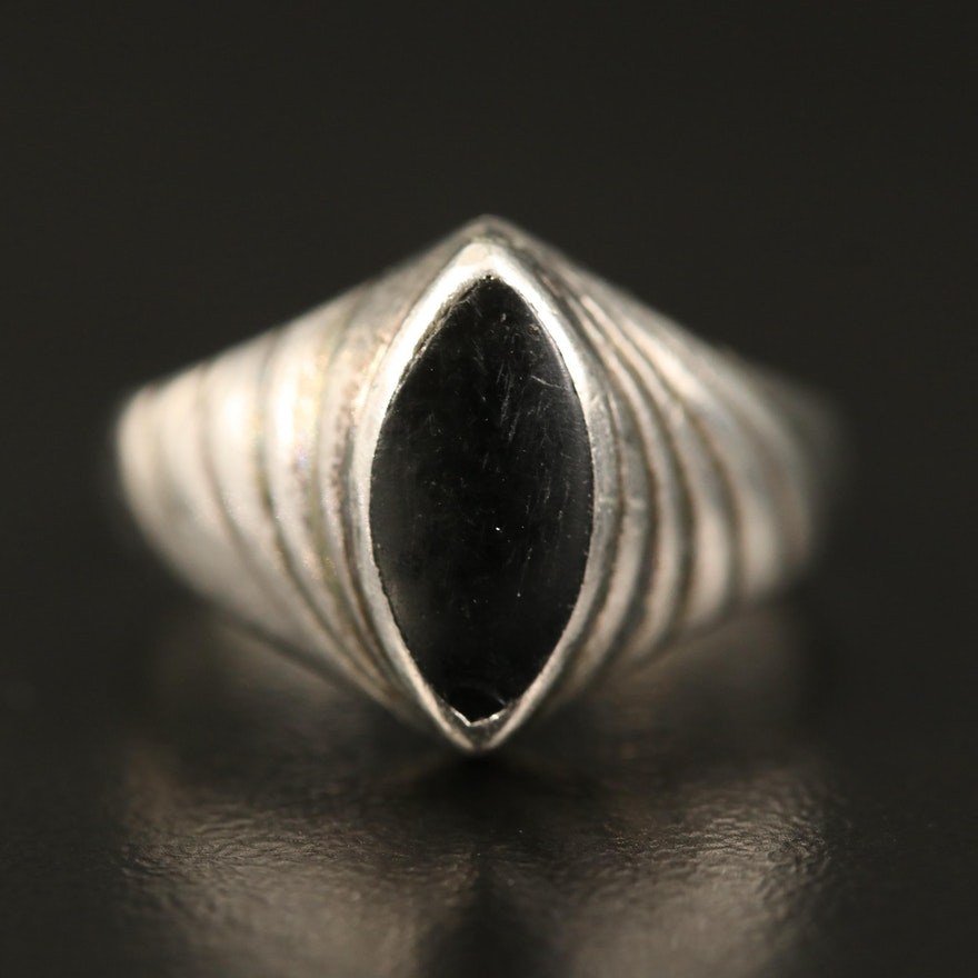 Sterling Black Onyx Navette Ring