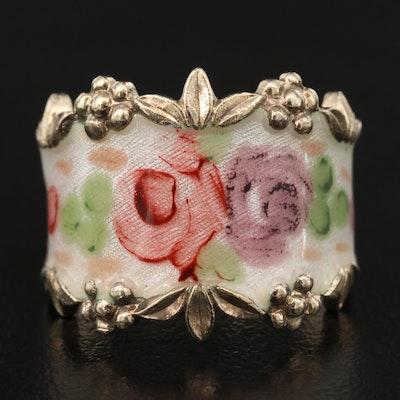 Vintage Espo Sterling Silver Enamel Floral Ring