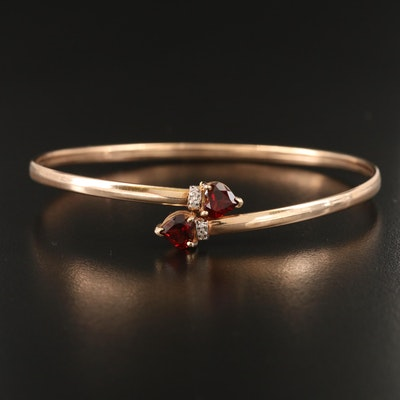 10K Garnet and Diamond Bypass Bangle