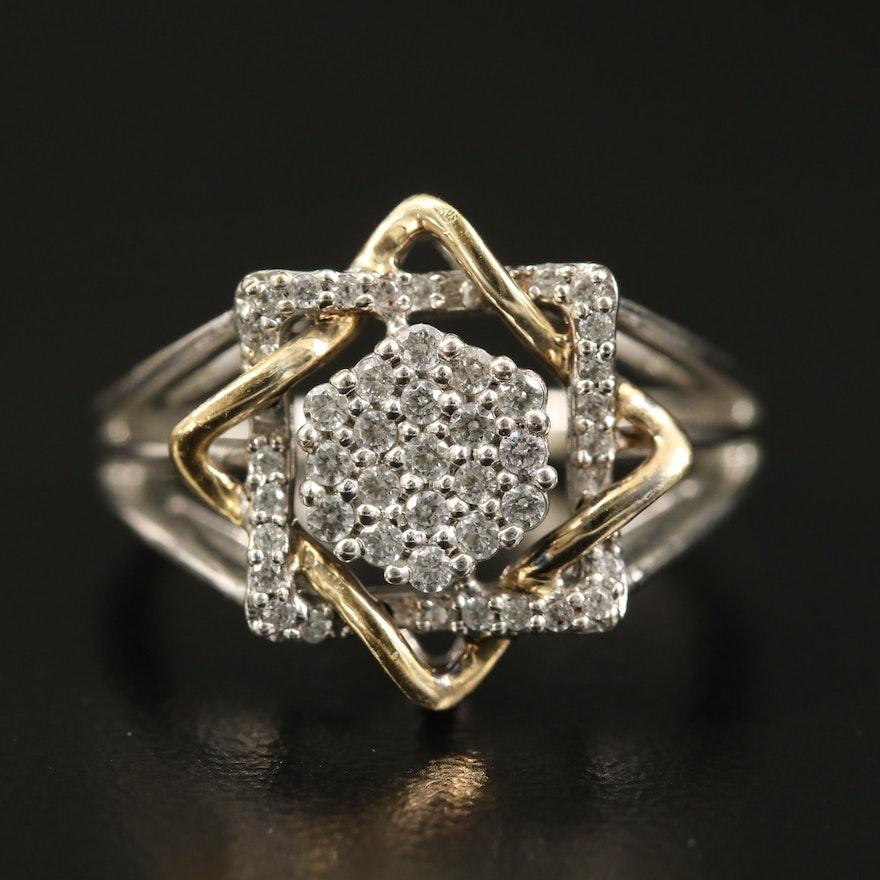 Sterling Cubic Zirconia Interwoven Ring