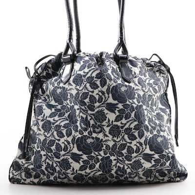 Prada Floral Canvas Drawstring Shoulder Bag with Black Leather Trim