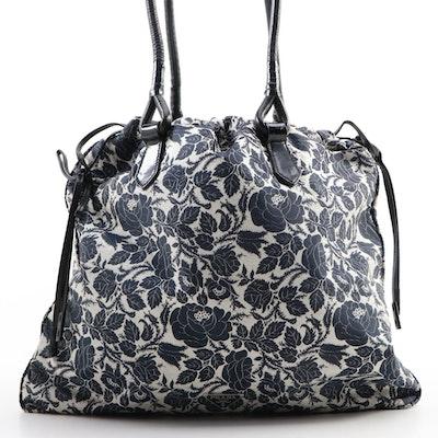 Prada Floral Canvas Drawstring Shoulder Bag with Black Leather Trim