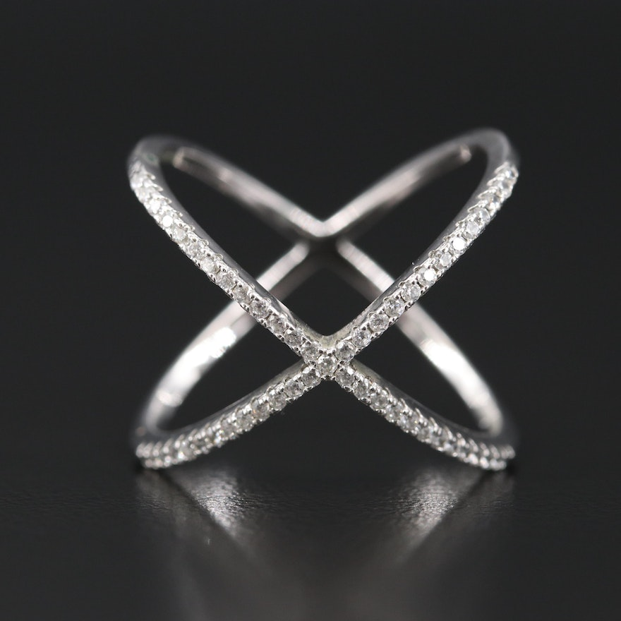 Sterling Cubic Zirconia X Style Band
