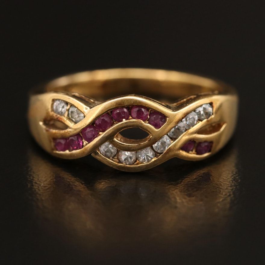 Channel Set Ruby and Cubic Zirconia Serpentine Band in Sterling