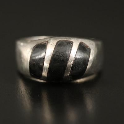Sterling Black Onyx Inlay Ring
