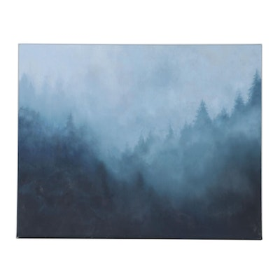 """Sarah Brown Oil Painting """"Mist in the Mountains,"""" 21st Century"""