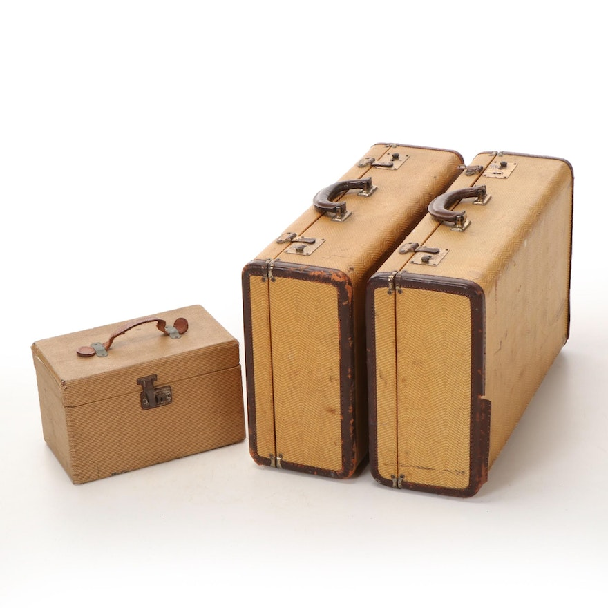 Pair of Leather Trim Canvas Suitcases with Accessories Case