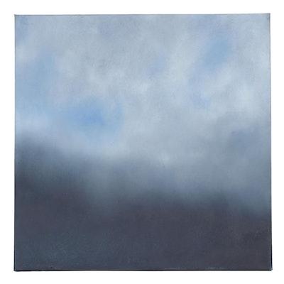 "Sarah Brown Landscape Oil Painting ""Blue Mood,"" 21st Century"