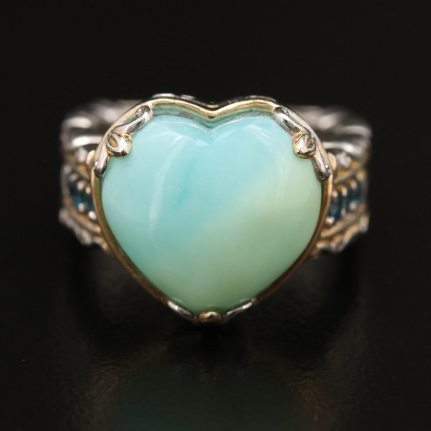 Sterling Silver Opal and Topaz Heart Ring