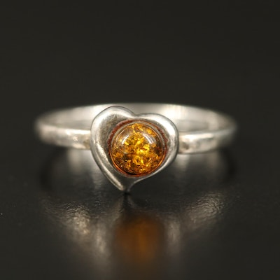 Sterling Copal Heart Ring