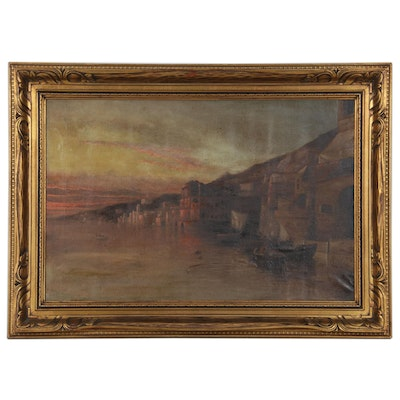 European Coastal City Scene Oil Painting, 19th Century