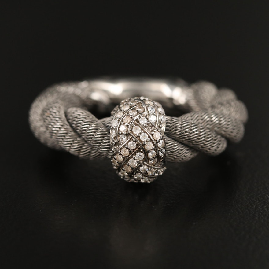 Sterling Silver Cubic Zirconia Woven Ring