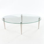 Contemporary Oval Shaped Brushed Metal and Glass Top Coffee Table