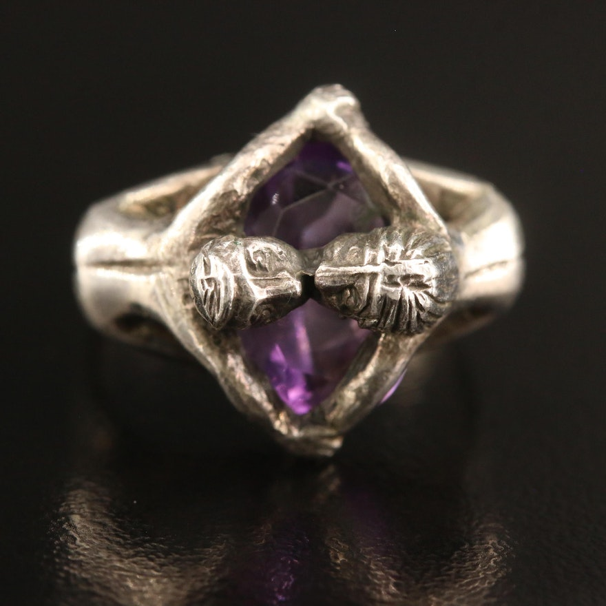 Sterling Silver Amethyst Figural Ring