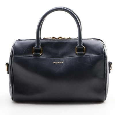 Yves Saint Laurent Baby Classic Duffle Satchel in Navy Calfskin Leather