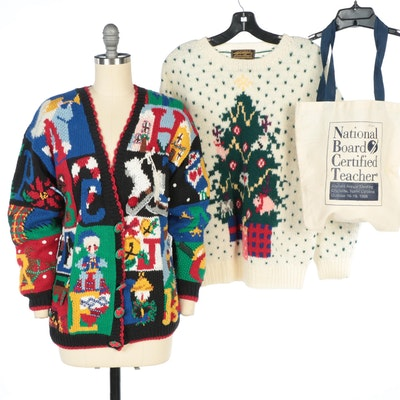 Eddie Bauer Holiday Sweater with BellePointe Alphabet Sweater and Canvas Tote