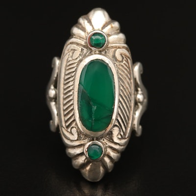Sterling Silver Chalcedony Patterned Ring