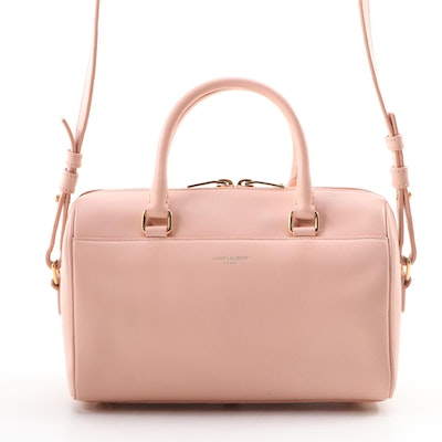 Yves Saint Laurent Baby Classic Duffle Two-Way Satchel in Blush Calfskin Leather