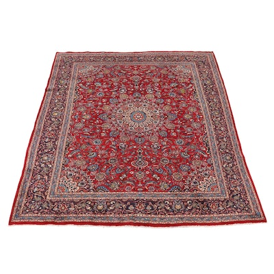 9'10 x 12'5 Hand-Knotted Persian Mashad Room Sized Rug