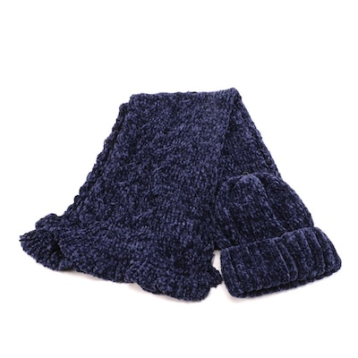 Charter Club Navy Blue Chenille Scarf and Beanie