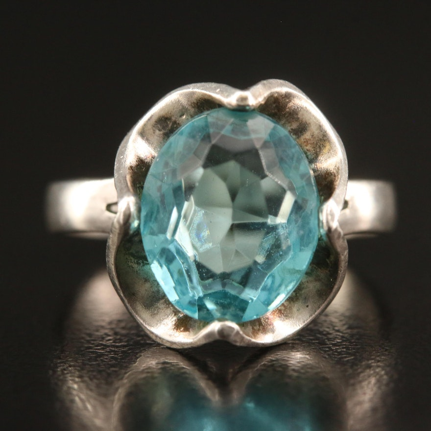 Sterling Silver Blue Glass Ring with Scalloped Gallery