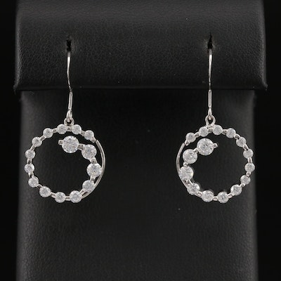 Sterling Silver Cubic Zirconia Round Dangle Earrings