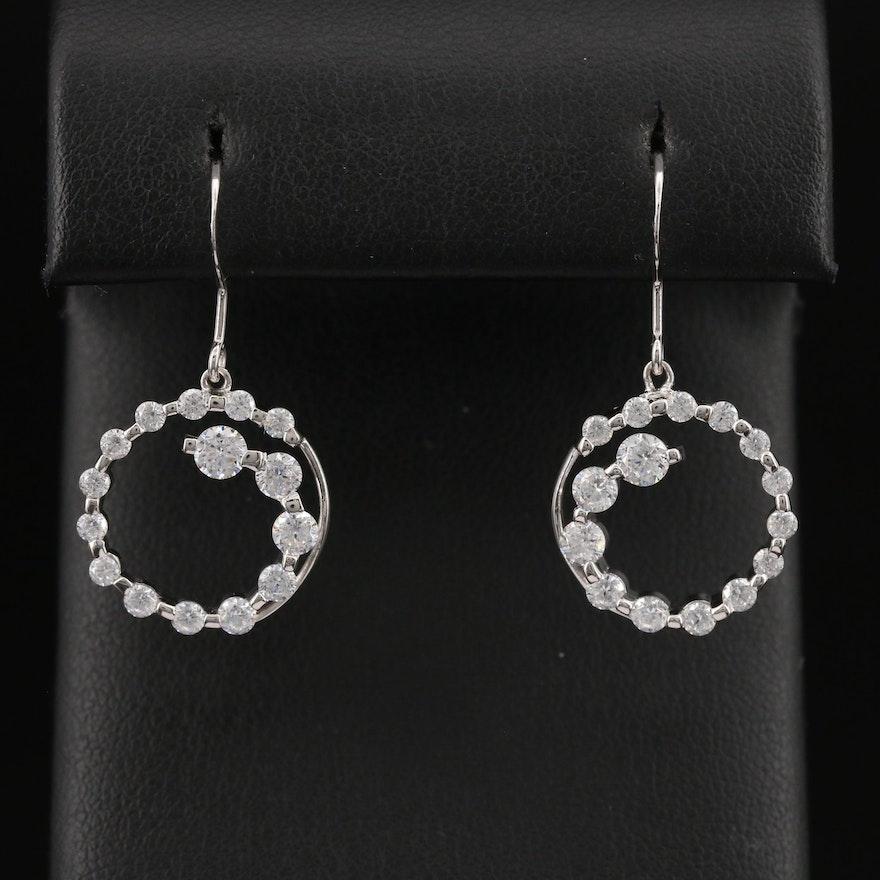 Sterling Silver Cubic Zirconia Round Dangle Earrings