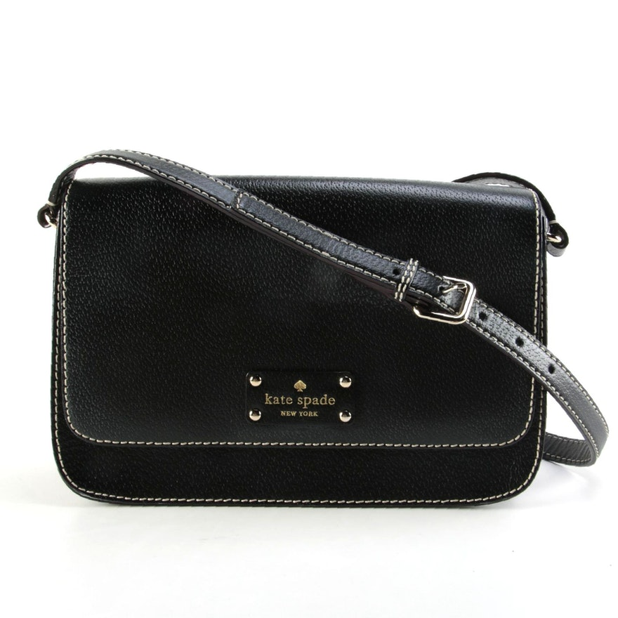 Kate Spade Wellesley Flynn Contrast Stitched Black Leather Front Flap Crossbody
