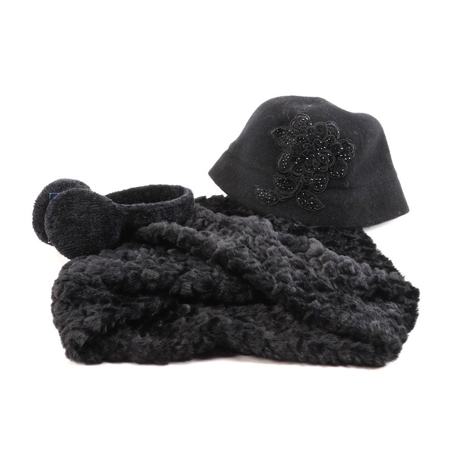 August Hat Company Embellished Cloche, INC Infinity Cowl, Charter Club Earmuffs