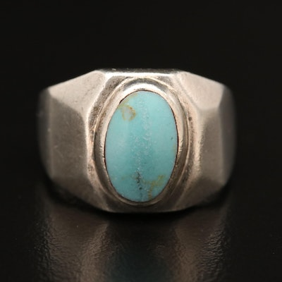 Mexican Sterling Silver Bezel Set Turquoise Ring