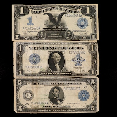 Large Format $1 Silver Certificates and $5 Federal Reserve Note