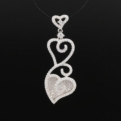 Sterling Silver Cubic Zirconia Heart Slide Pendant