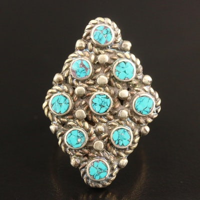 Western Sterling Turquoise Geometric Ring