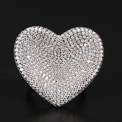 Sterling Silver Cubic Zirconia Pavé Heart Ring