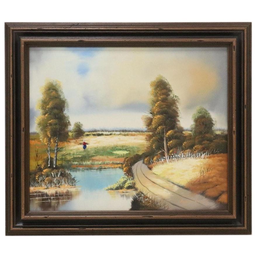 Hoppman Landscape Oil Painting, Late 20th Century