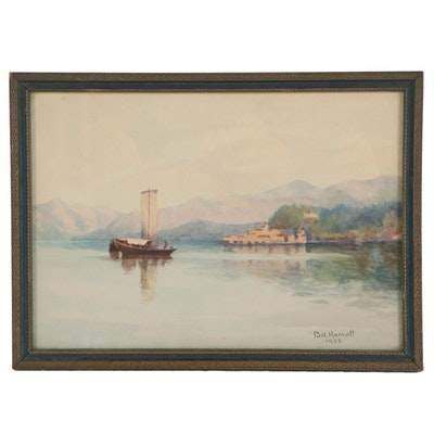 B.A. Harnett Watercolor Painting of Boat on Calm Waters, 1923