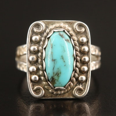 Western Sterling Turquoise Ring