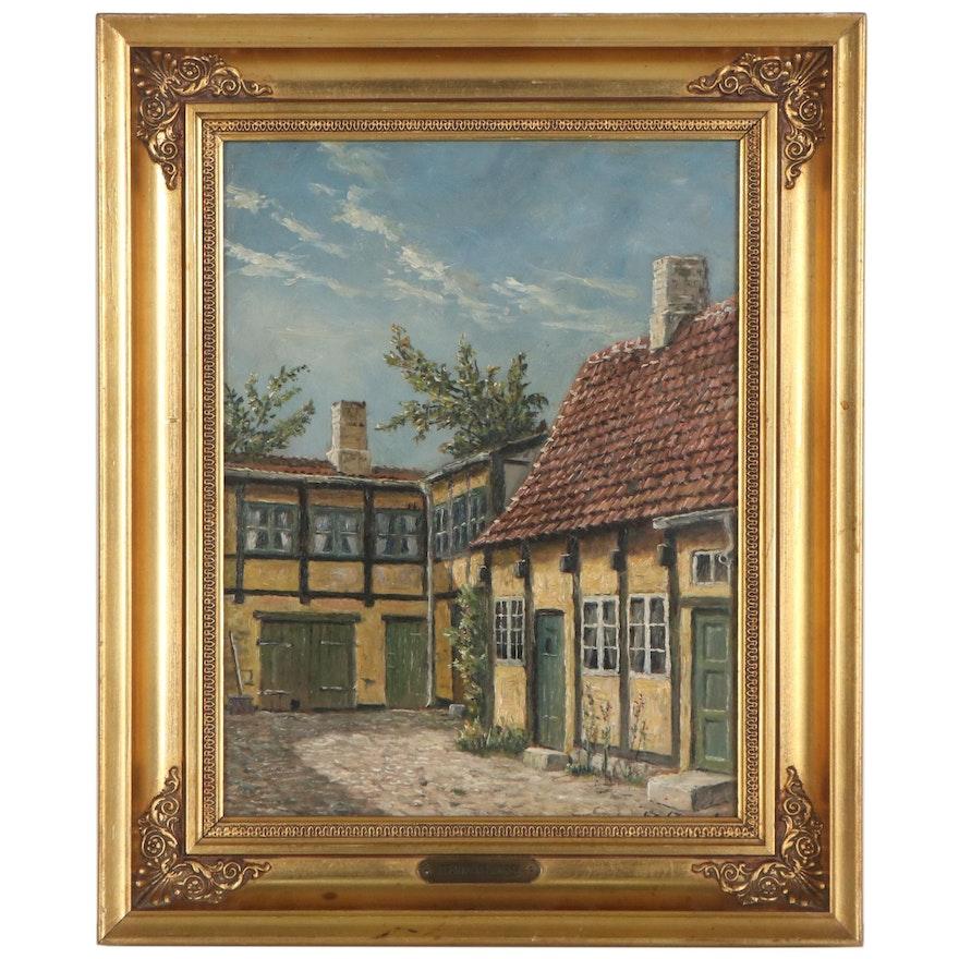 Frands Frandsen European Village Oil Painting, Early 20th Century