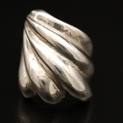 Mexican Sterling Silver Domed Ridge Ring