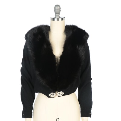Hansmade Inc. Black Wool Embellished Cardigan Sweater with Dyed Fox Fur Collar