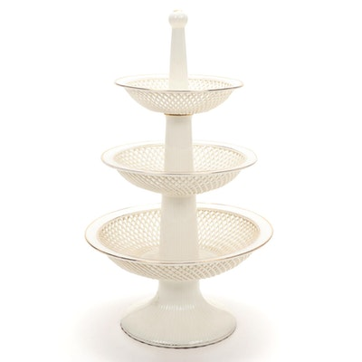 Max Roesler German Porcelain Three-Tiered Reticulated Centerpiece Basket