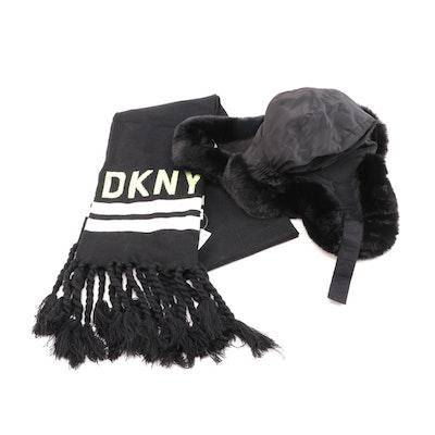 DKNY Donna Karan Faux Fur Ushanka Hat and Logo Stripe Fringed Scarf