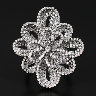 Sterling Silver Cubic Zirconia Flower Statement Ring