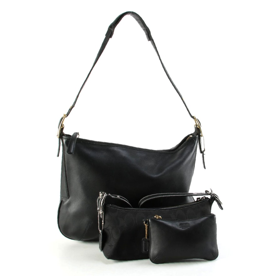 Coach Black Leather Shoulder Bag and Wristlet with Black Signature Shoulder Bag