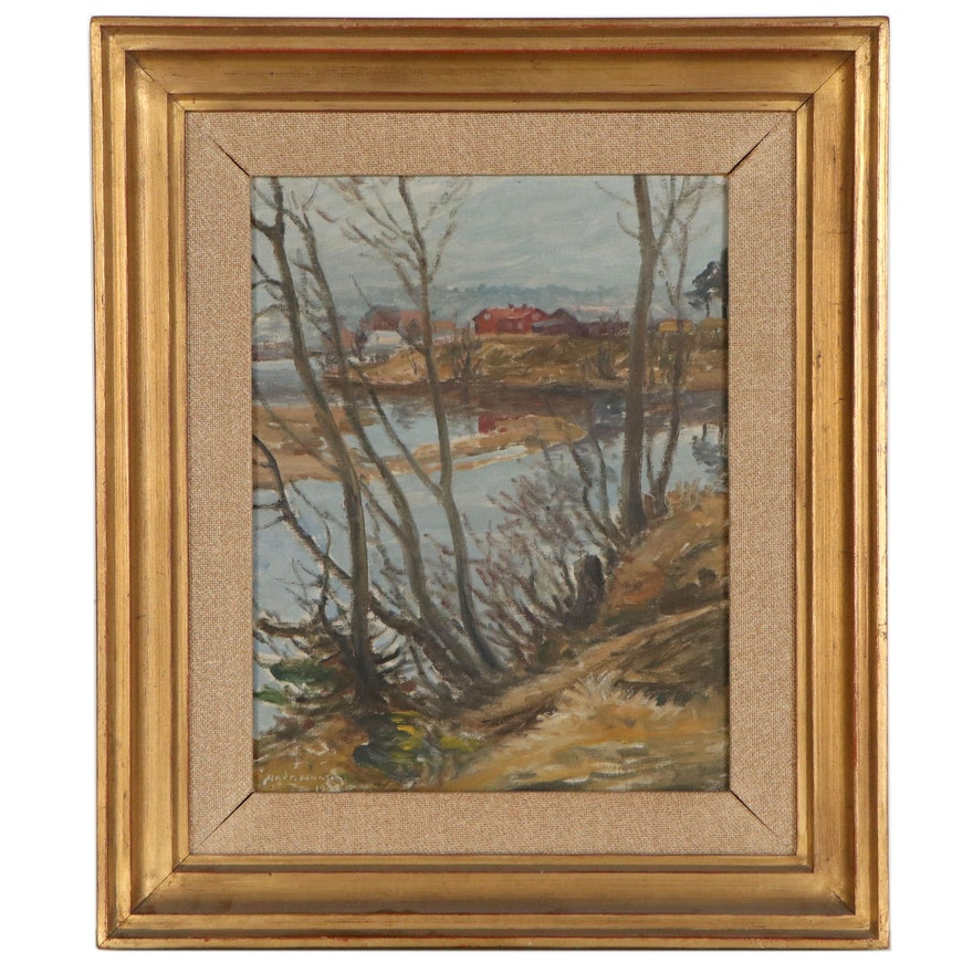 Oil Painting of Overcast Landscape, 1932